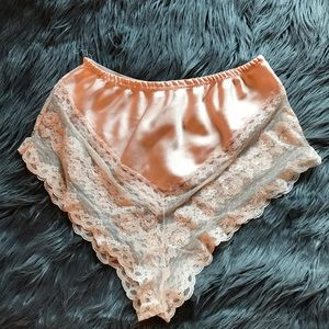 Other - VINTAGE champagne pink satin and lace booty shorts